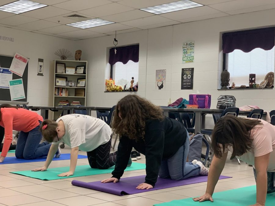 Students+doing+yoga+in+the+yoga+pop-up+class