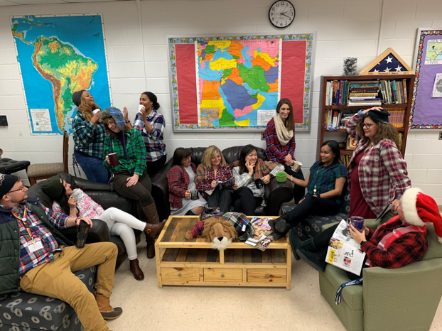 World Languages teachers celebrate spirit week with flannel.